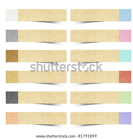 color pad recycled paper stick on white background