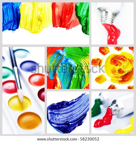 stock photo : Color Paint Collage