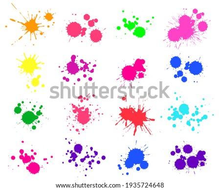 Color paint splatter. Bright ink stains and spray blots isolated on white. Watercolor spaint, spot or drop elements