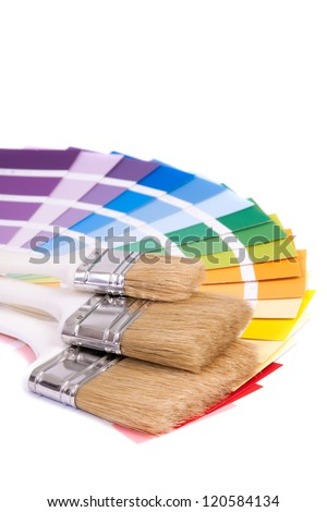 Color palette and a brush ,isolated on white background