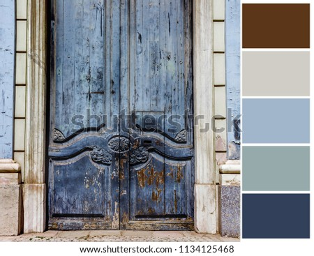 Color palette. Color theory and mixing. Vintage door background. #1134125468