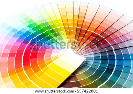Color palette, guide of paint samples, colored catalog