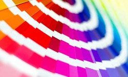 Color Palette Guide. Sample Colors Catalog. Multicolored bright background. RGB. CMYK. Printing house.