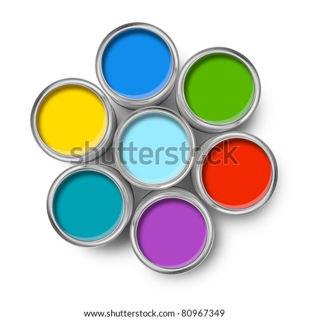 Color palette paint cans opened top view isolated on white