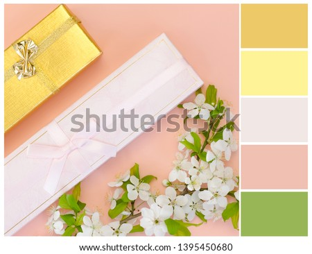 Color palette. Pink, yellow and green colors. Harmonious colour combinations.