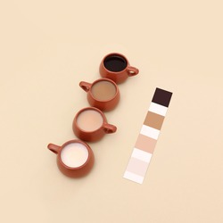 Color palette with different shades of coffee in red mugs, flat lay coffee shop concept