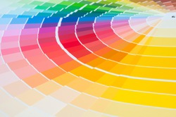 Color palette with various samples. Paint selection catalog, close-up