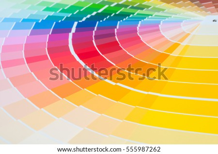 Color palette with various samples. Paint selection catalog, close-up #555987262