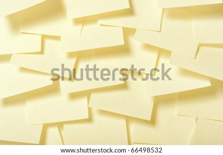 Color paper of notes on a white background