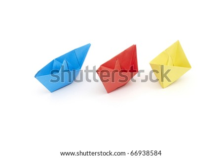 color Paper ships isolated on white background