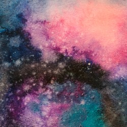 Color paper textured background, Illustration, Art abstract galaxy watercolor hand painting, Cosmic Night with star textured background, banner