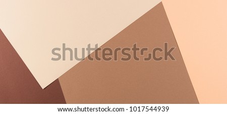 Color papers geometry composition banner background with pink, beige and brown tones. #1017544939