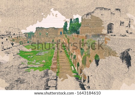 Color pencil drawing on brown paper of street view at Colosseum Rome Italy.