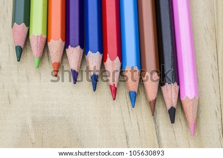 Color pencil in wood background with great colors