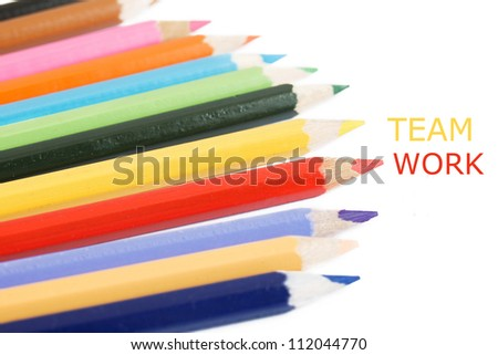 Color pencil isolated on white background with sample text
