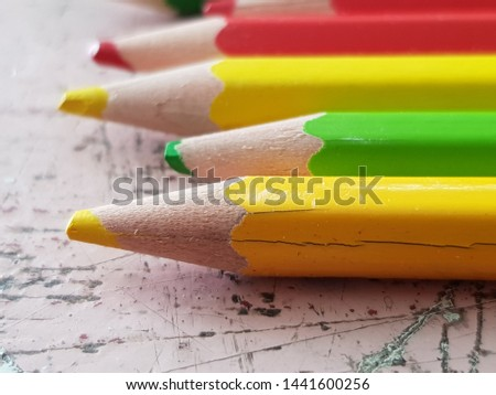 color pencil on wooden background.Crayons. Colored Pencils. colored pencils #1441600256