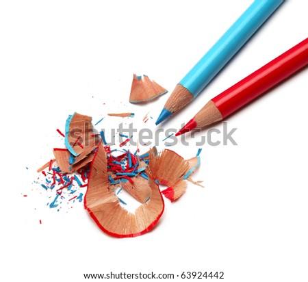 Color pencils and sharpener shaving
