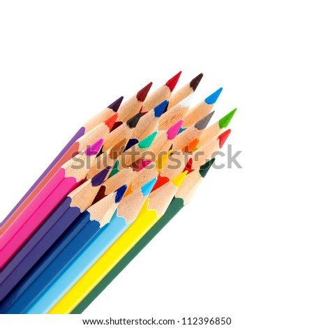 color pencils as a bunch or bouquet isolated on a white background
