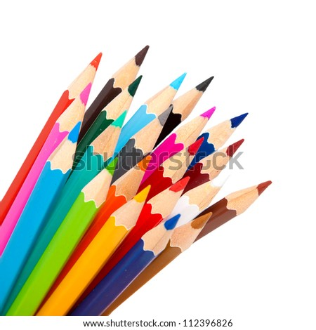 color pencils as a bunch or bouquet,  teamwork simbol, isolated on a white background,  ready for your logo, text or symbols