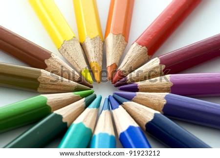 Color pencils as a color wheel