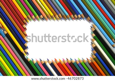 Color pencils background isolated in white