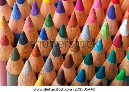 Color pencils background, selective focus