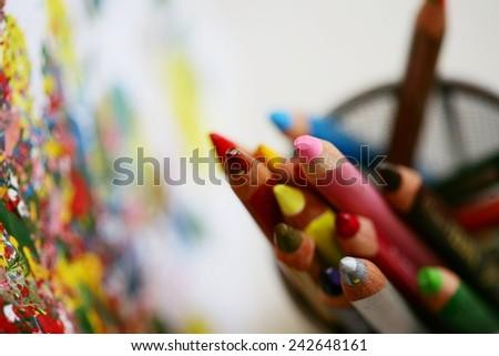 Color pencils closeup