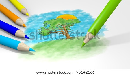 Color Pencil Clouds Color Pencils Drawing Tree