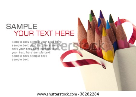 Color pencils in a bag on a white background