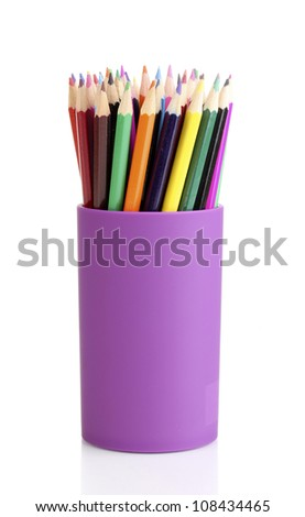 Color pencils in glass isolated on white