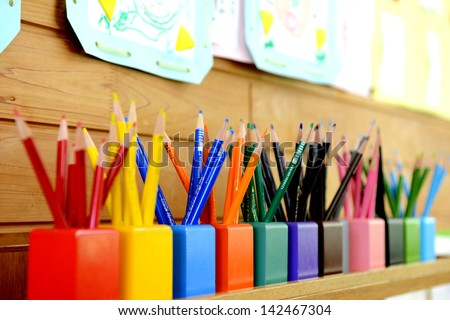 Color pencils in kindergarten
