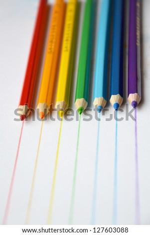 Color pencils in rainbow colors