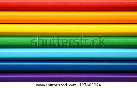 Color pencils in rainbow colors