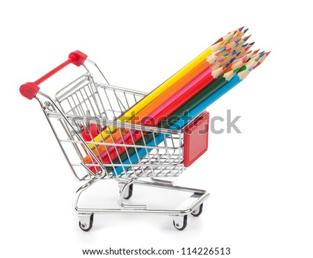 color pencils in shopping cart on white