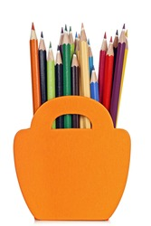 color pencils in wooden basket-shaped pencil case