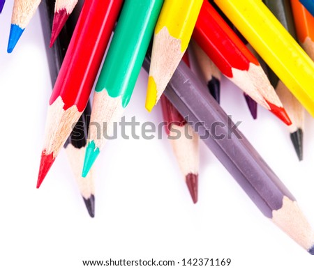 Color pencils isolated on white background. Back to school concept.
