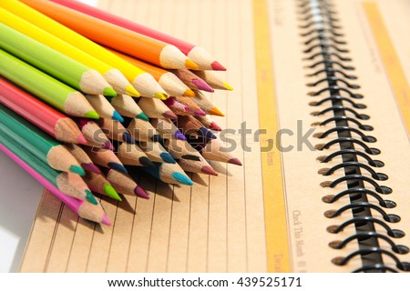 Color pencils isolated on white background close up #439525171