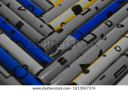 Color pencils isolated on white background.Close up,Color pencils isolated on white background close up with Clipping path.Beautiful color pencils.Color pencils for drawing. blue pencil