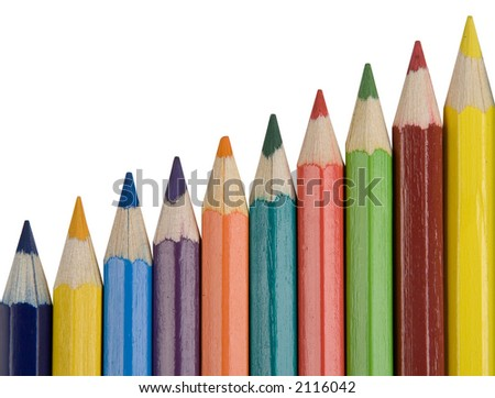 color pencils, isolated on white, clipping path included