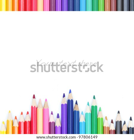 Color pencils on white background, as colorful border