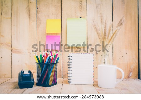 Color pencils on wooden background - Vintage effect style pictures