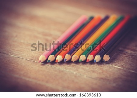 Color pencils. Photo in vintage color image style.