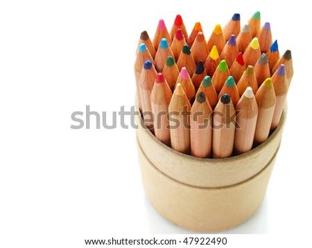 Color pencils shaped heart