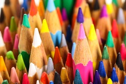 color pencils standing right up
