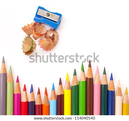 Color pencils with a sharpener