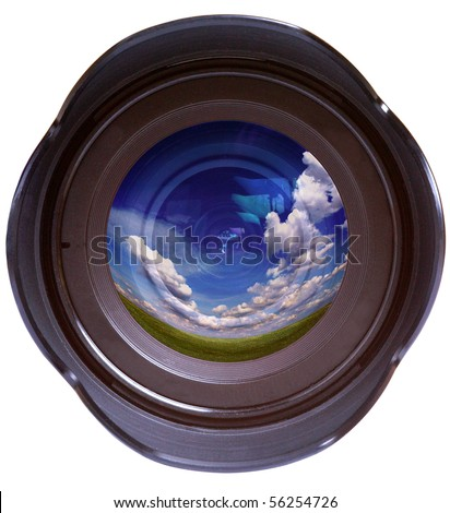 Color photo camera lens with reflected sky