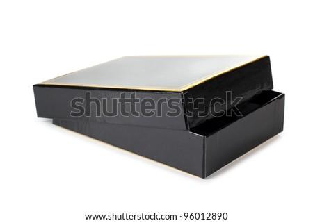 Color photo of a black cardboard box