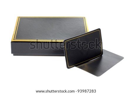 Color photo of a black cardboard box and card