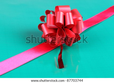 Color photo of a bow and ribbon