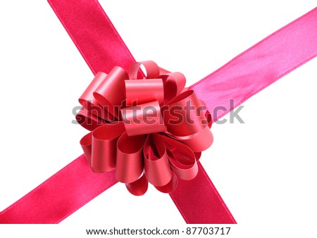 Color photo of a bow on red ribbon